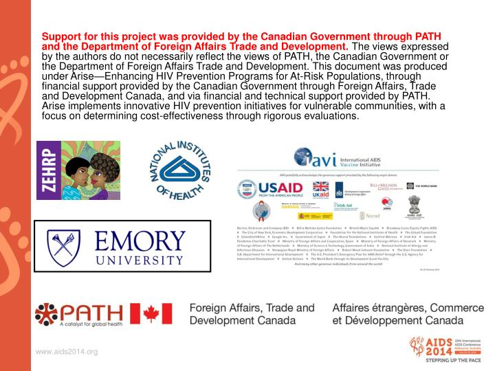 Support for this project was provided by the Canadian Government through PATH and the Department of Foreign Affairs Trade and Development.