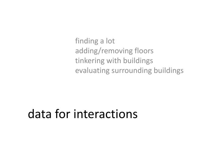 data for interactions