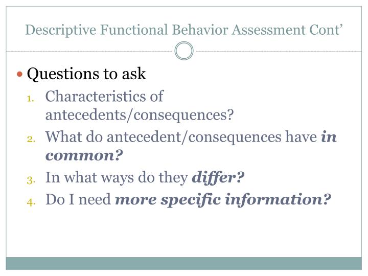 Descriptive Functional Behavior Assessment Cont'