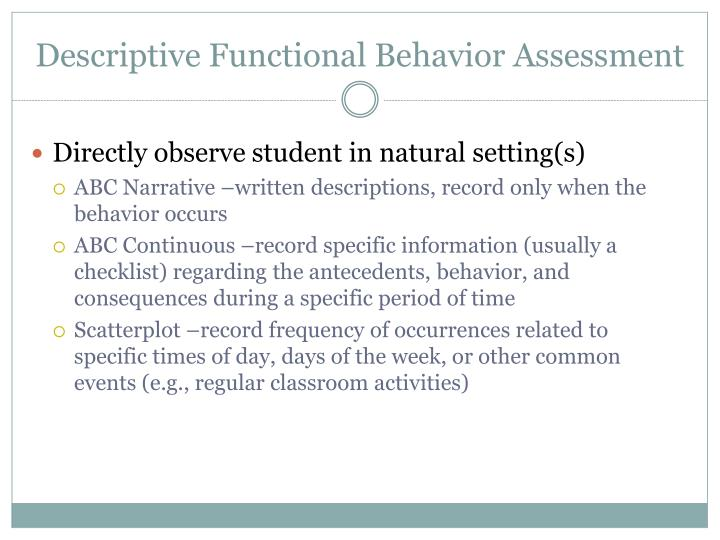 Descriptive Functional Behavior Assessment