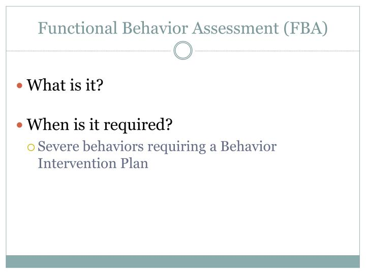 Functional behavior assessment fba
