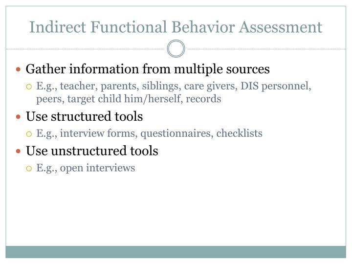 Indirect Functional Behavior Assessment