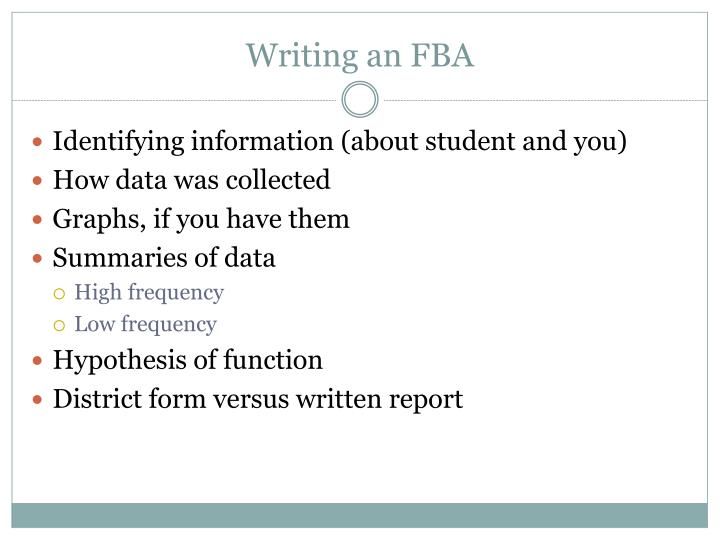 Writing an FBA