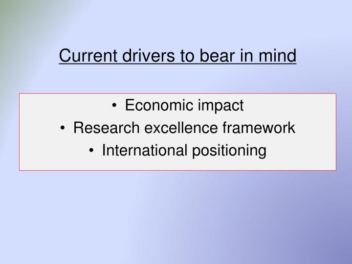 Current drivers to bear in mind