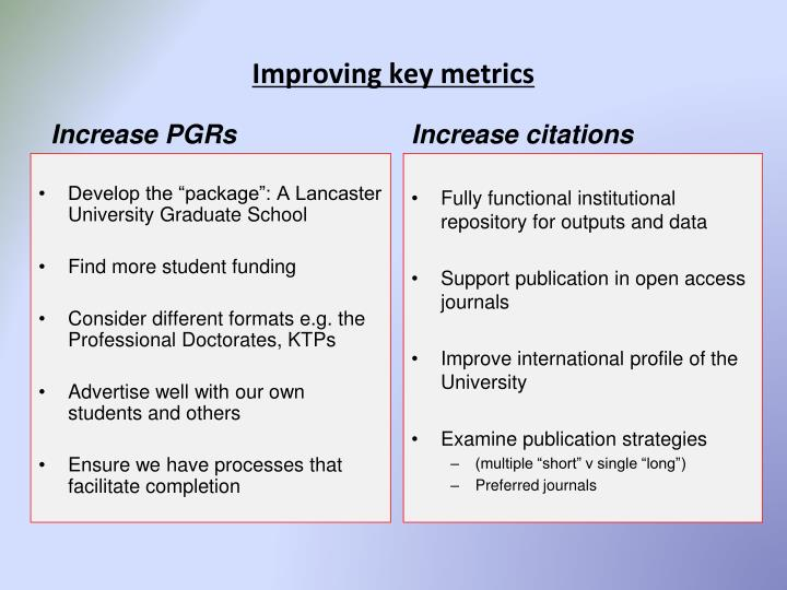 Improving key metrics