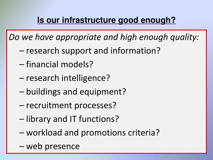 Is our infrastructure good enough?