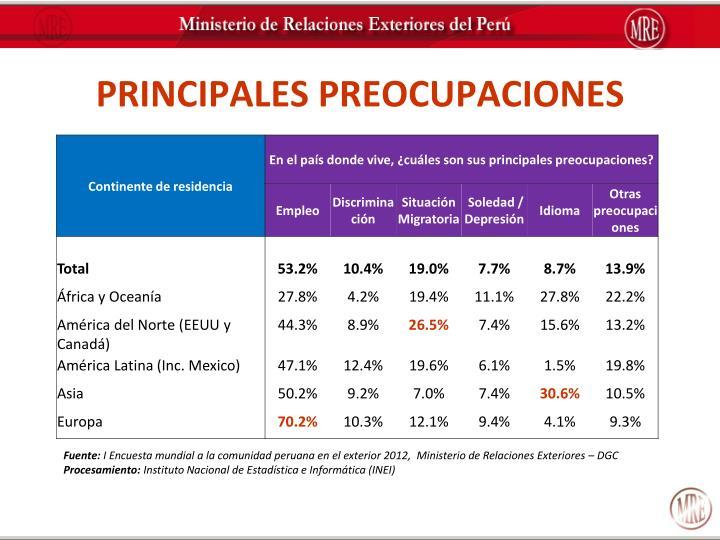PRINCIPALES PREOCUPACIONES