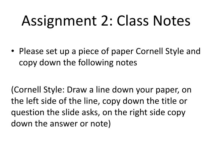 assignment 2 class notes n.