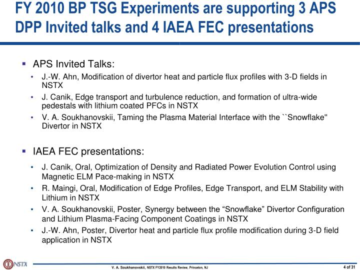 FY 2010 BP TSG Experiments are supporting 3 APS DPP Invited talks and 4 IAEA FEC presentations
