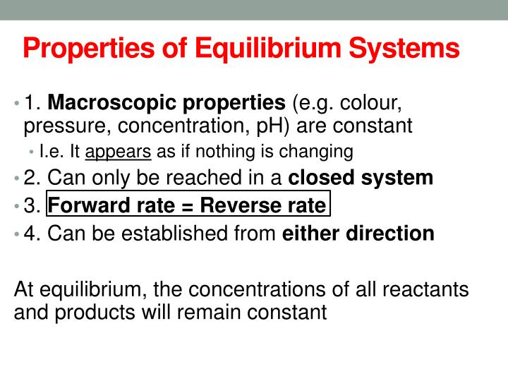 Properties of Equilibrium Systems