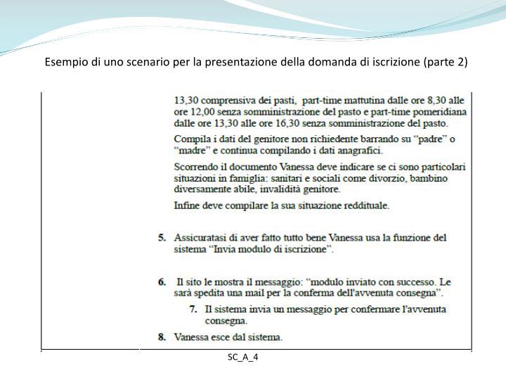 Esempio di uno scenario per la presentazione della domanda di iscrizione (parte 2)