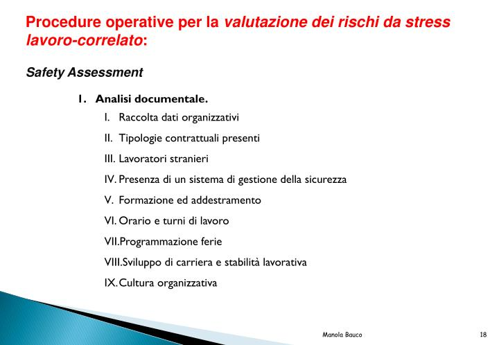 Procedure operative per la