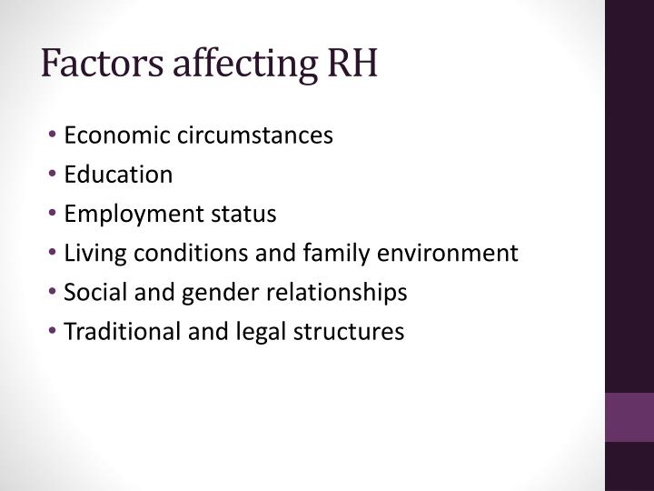 Factors affecting RH