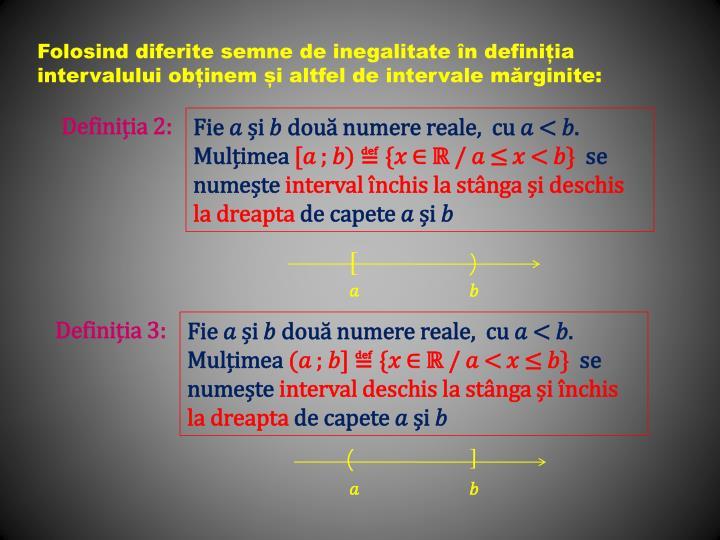 Folosind diferite semne de inegalitate în definiția intervalului obținem și altfel de intervale mărginite: