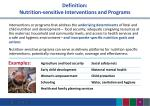 definition nutrition sensitive interventions and programs