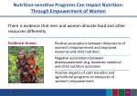 nutrition sensitive programs can impact nutrition through empowerment of women