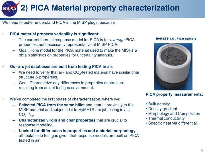 2) PICA Material property characterization
