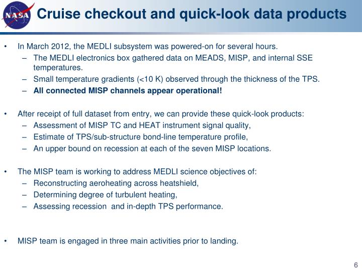 Cruise checkout and quick-look data products