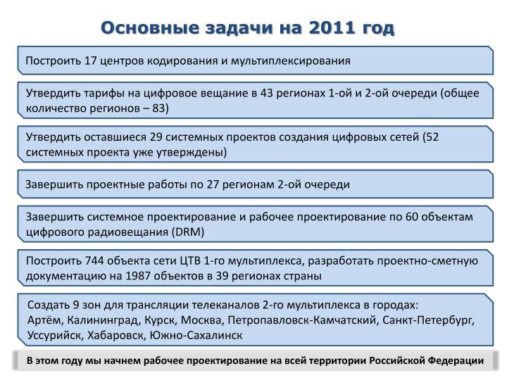 Основные задачи на 2011 год