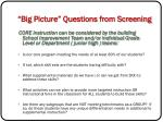big picture questions from screening