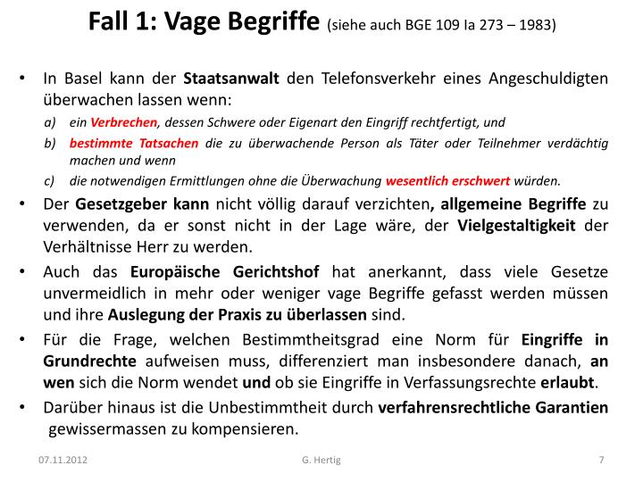 Fall 1: Vage Begriffe