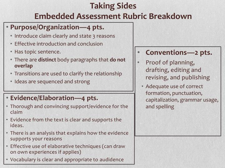 Taking sides embedded assessment rubric breakdown