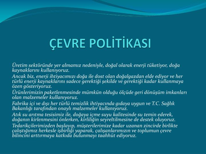 ÇEVRE POLİTİKASI