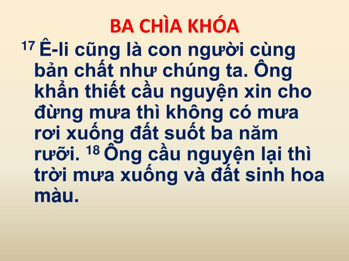 BA CHÌA KHÓA