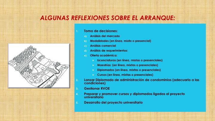 ALGUNAS REFLEXIONES SOBRE EL ARRANQUE: