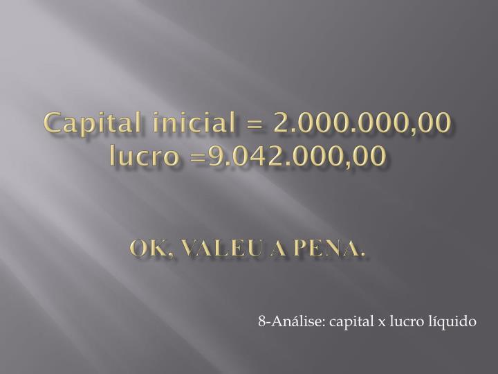 Capital inicial = 2.000.000,00