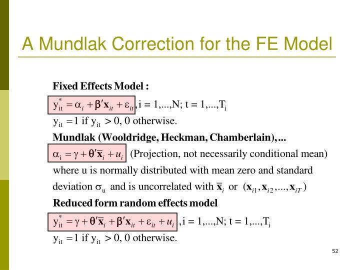 A Mundlak Correction for the FE Model
