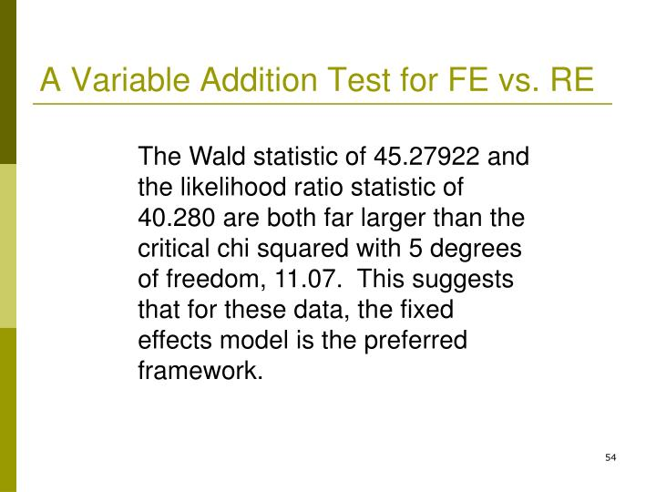 A Variable Addition Test for FE vs. RE