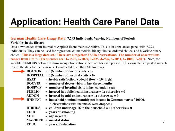 Application: Health Care Panel Data