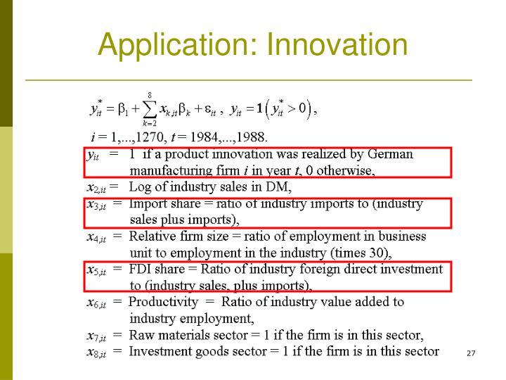 Application: Innovation