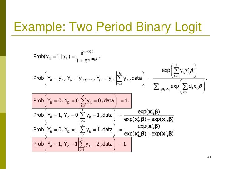 Example: Two Period Binary Logit