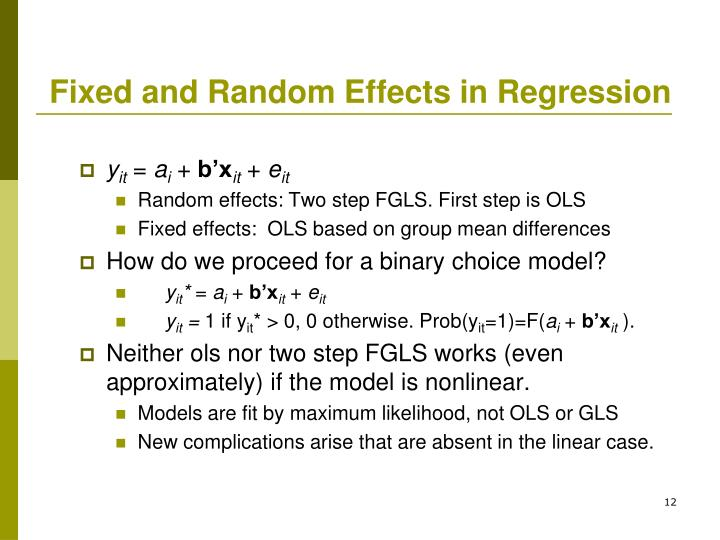 Fixed and Random Effects in Regression