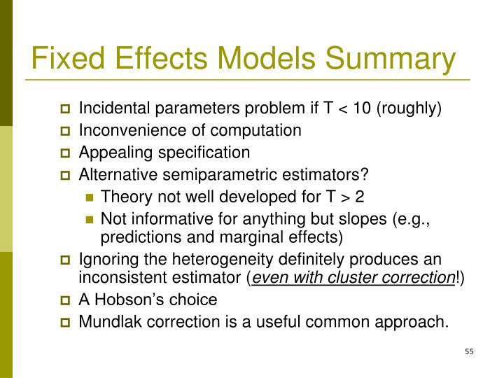 Fixed Effects Models Summary