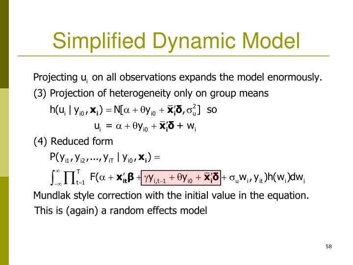 Simplified Dynamic Model