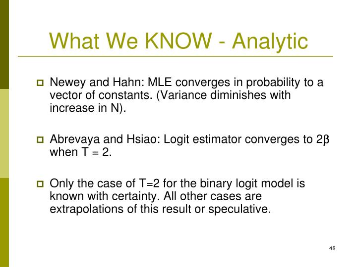 What We KNOW - Analytic