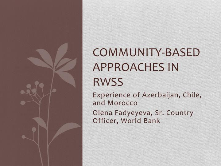 community based approaches in rwss