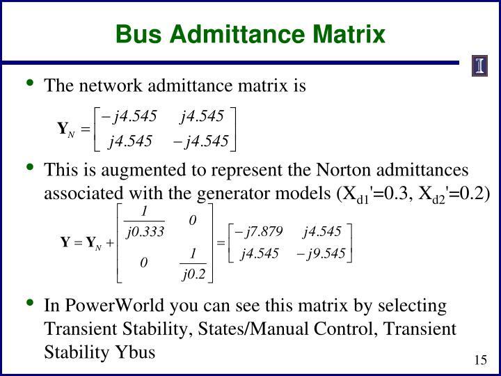 Bus Admittance Matrix
