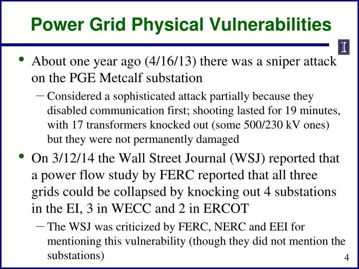 Power Grid Physical Vulnerabilities