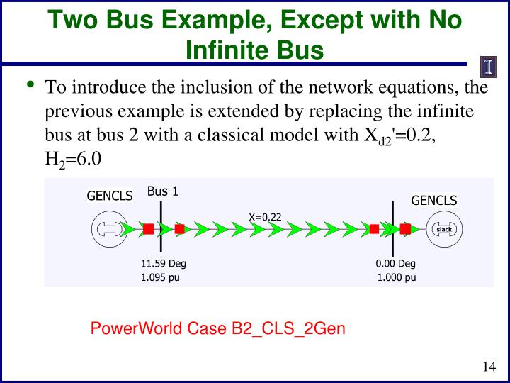 Two Bus Example, Except with No Infinite Bus
