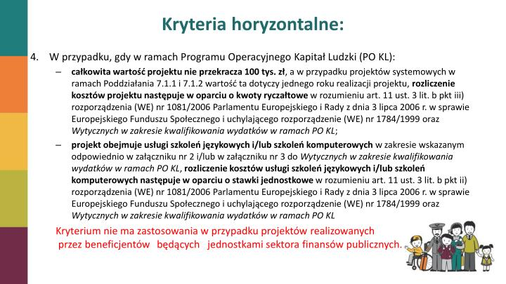 Kryteria horyzontalne: