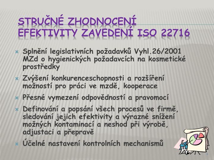 Splnění legislativních požadavků Vyhl.26/2001