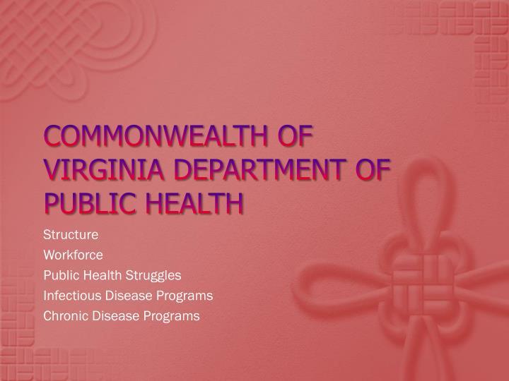 Commonwealth of Virginia department of public Health