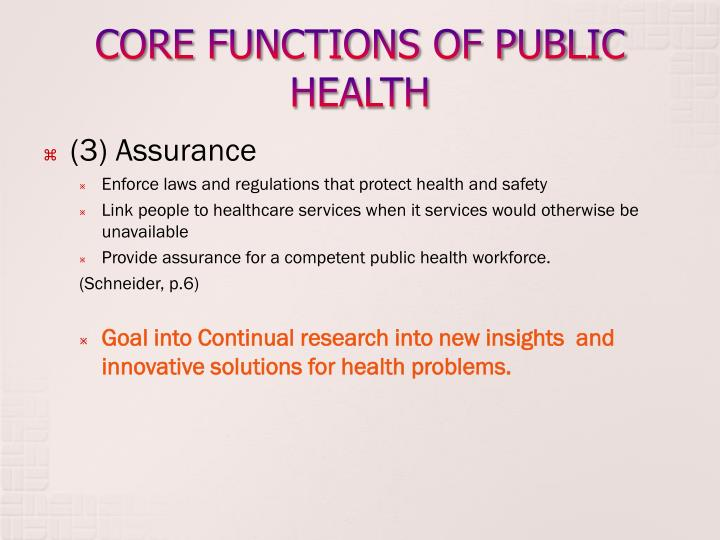 CORE FUNCTIONS OF PUBLIC HEALTH