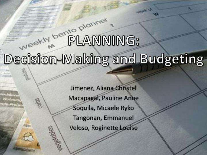 planning decision making and budgeting n.