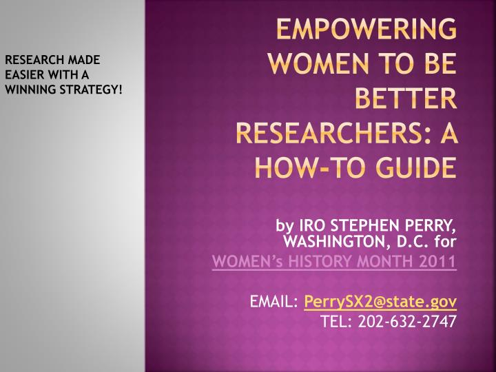 empowering women to be better researchers a how to guide n.