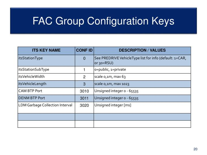 FAC Group Configuration Keys